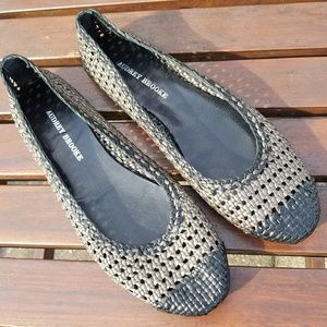 Audrey Brooks Woven Metallic Leather Flats Size 41